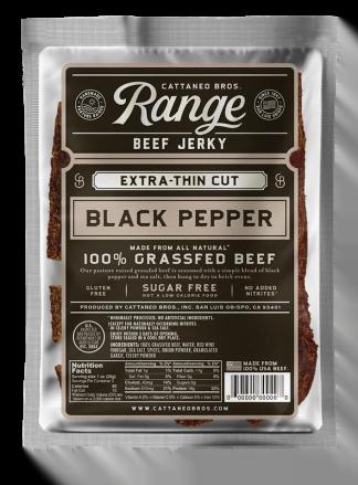 Range 100% Grassfed Beef Jerky Black Pepper
